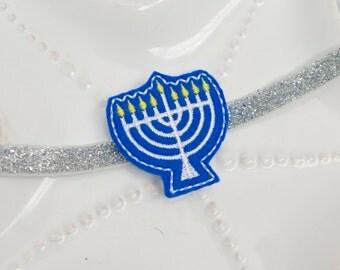 Blue Felt Menorah Hanukkah Chanukah Baby Headband