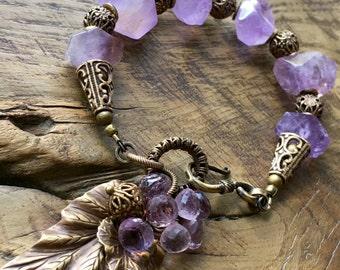 Lavender Amethyst bracelet, Bohemian gemstone bracelet, pastel violet, antique brass