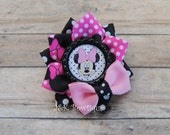 Minnie Mouse....Small ribbon flower Hairbow