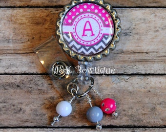 Your Initial on a Retractable Badge Reel....Chevron grey and pink colors