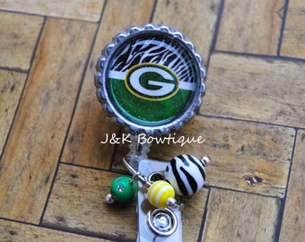 Green Bay Packers - retractable badge reel....Zebra print