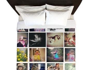 Duvet Cover/ Instagram photo collage / / Bedding/ Comforter Cover/ Twin, Queen, King/ Student bedding