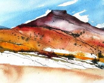 Pedernal Peak - Original Watercolor Painting