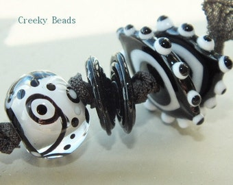 Handmade Lampwork beads - Black & White mix - Creeky Beads SRA