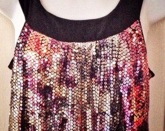 short sequin dress / mini metallic / disco dress