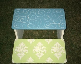 Teal and Green, Step Stool, Damask Decor, Nursery decor, Bathroom Stool, Personalized Free