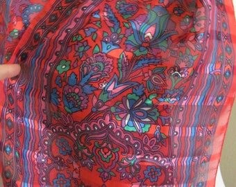 """SALE!! Beautiful Red Sheer Silky Poly Scarf // 12"""" x 56"""" Long"""