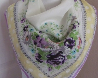 """Beautiful White Floral Ladies Silk Scarf  - 28"""" Inch 71cm Square"""