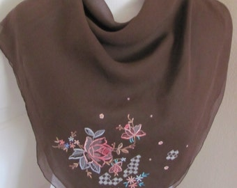 "Lovely Solid Brown Embroidered Chiffon Silk Scarf // 30"" Inch 76cm Square"