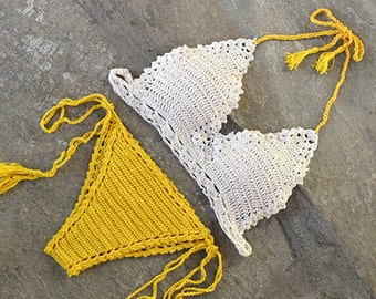Crochet bikini set in yellow and of white, Lace crochet top, Crochet swimsuit, Crochet swimwear, Crochet bikini , Brazilian bikini