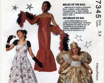 Vintage Children's Costume Sewing Pattern in Six Different Versions - McCall's 7345 - Sizes 3 - 4 - UNCUT