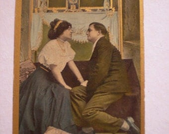 orig romantic postcard The French Clock Says' Get Together' 1909