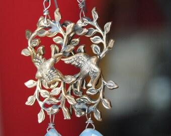 Spring Sparrows--Vintage Brass Scatter Brooch Bird Garland Chalcedony Briolette EARRINGS