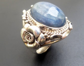 Handmade Sterling Silver and Kyanite Statement Ring - Boho Style Sterling Silver and Kyanite Ring - Blue Stone Statement Ring - Size 8.6