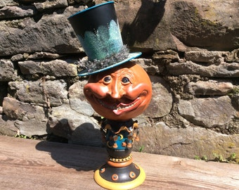 Mr. Man in the Moon Halloween Vintage Style Hand Sculptured and Painted Gourd Folk Primitive