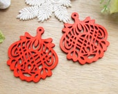 WP35 / # 4 Red / Wood Filigree Lace Dangle For Earring/ Laser Cut Lace Charm / Pendant /  Filigree Wood Gift /Light earrings