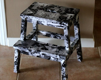 Black and White Collage Stool