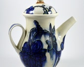 Blue and Yellow Ceramic Teapot. Great Holiday Gift! Cobalt Blue, Chocolate Brown and Yellow Porcelain Teapot with Floral Motif