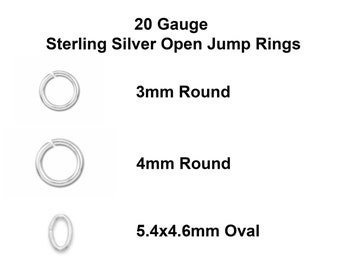 50-100pc, 20g, 3mm, 4mm, round jump ring, oval jump ring, sterling silver, open jump ring, 20 gauge, sterling jump ring, 20g open jump ring