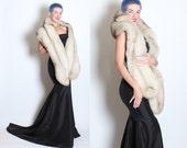 DECADENT 1950's Glamorous Norwegian Blue FOX FUR Extra Long Stole / Wrap / Shawl - Burlesque - Silk Backing - Supple - Hidden Pockets