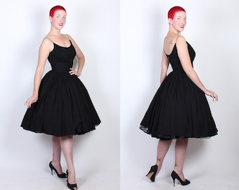PERFECTION 1950's New Look Inky Black Silk Chiffon Party Dress w/ Gathered Shelf Bust, Gathered Midsection, Rhinestone Straps - Timeless - M