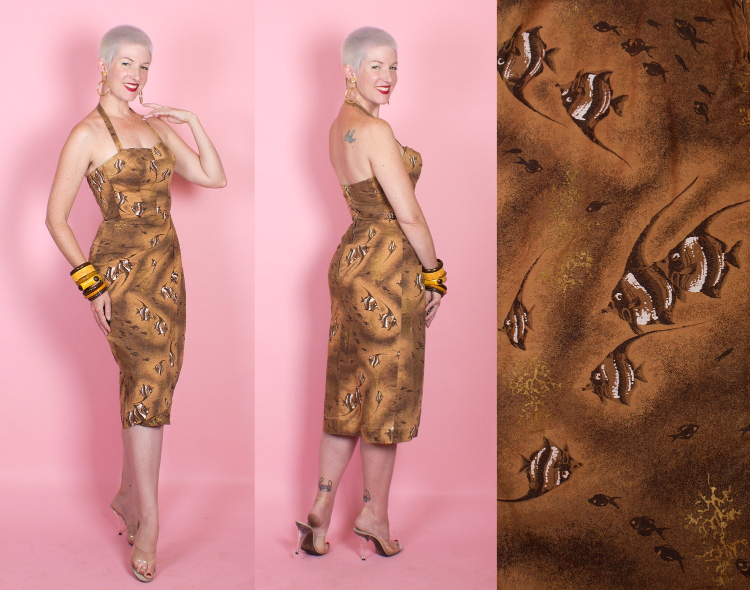 FABULOUS 1950s Hawaiian Cotton Sarong Hourglass Cocktail Dress w Angelfish & Gold Coral by Holo-Holo - Made in Hawaii - Removable Straps - M