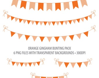 Orange Bunting Clip Art Dark Orange Gingham Instant Download Printable Bunting Orange Gingham Flag Bunting Penant Bunting