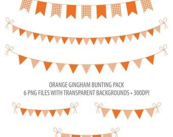 Orange Bunting Clip Art Dark Orange Gingham Instant Download Printable Bunting Orange Gingham Flag Bunting Penant Bunting