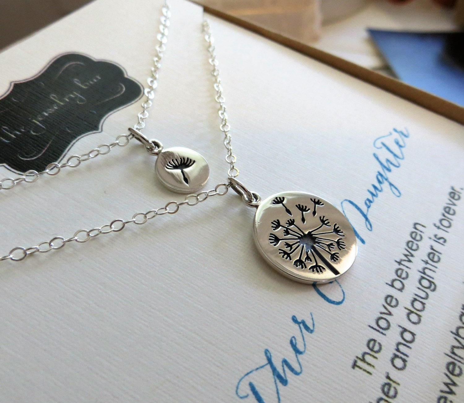 Mother daughter jewelry Dandelion charm necklace sterling