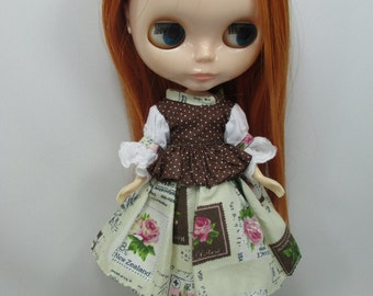 Outfit costume set blouse and skirt for Blythe doll 790-52