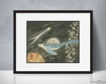 New New New Seattle - sumi-e watercolor painting - space whale - 8x10 (Print)