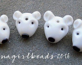 North Pole-a-Bear Head Focal Lampwork Bead