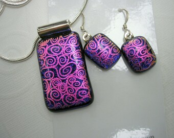 Dichroic Jewelry Set Midnight Blue with Fanciful Pink Swirls Matching Pendant & Earrings 925 Sterling Earwire Fused Glass Statement Jewelry