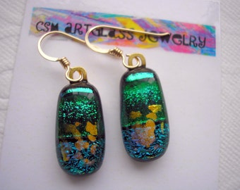 Earrings Green with Golden Clouds Dichroic Fused Glass Jewelry Gold Hooks Iridescent Glass Emerald and Teal Jewellry Sparkling Kiln Fired
