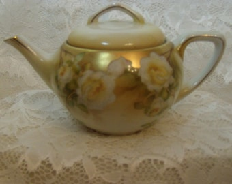 Vintage RS Germany Teapot Yellow Roses Gold Gilt