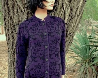 Fabulous Fall Wool Pendelton Purple Jacquard Knit Cardigan Circa The 1990s Mint