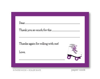 Roller Skate PRINTABLE Fill-in-the-Blank Thank You Note