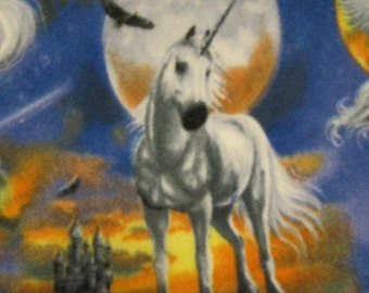 Unicorns with Gold Fleece Blanket - Ready to Ship Now