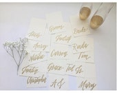 Gold Painted Place Cards for Shower, Event or Wedding with Hand Painted Calligraphy