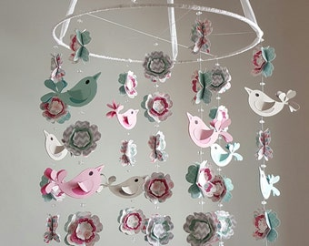 Love Bird Baby Mobile in Pink Coral Mint Turquoise Aqua Gray WITHout the Branch