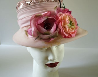 New Lower Price!!! Fabulous Upcycled BONNET...Vintage 50s 60s Hat...Pink Flowers...OOAK