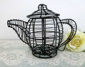 Vintage Black Wire Teapot, Shabby Chic - Wire Tea Pot Candle Holder - Eclectic Decor - Collectible - Cottage Chic Kitchen - Tea Lovers Gift