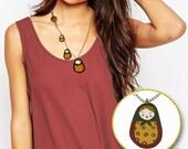 Handpainted Green Matryoshka Necklace