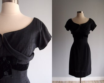 1950's dress / Black Shelf-Bust slim pencil skirt Dress Silk Dupioni & Velvet Bow by Miss Brooks New York ...27 waist