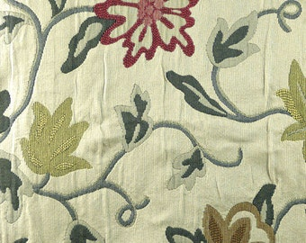 Large Floral Vines, Tapestry Upholstery Fabric, Flowers, Leaves, Green, Red, Cream, Heavy Weight, Cotton Blend, 14 x 80, B16