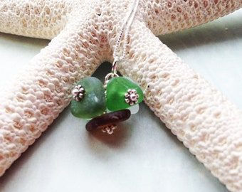 Sea Glass Necklace - Cluster Necklace - Beach Glass Jewelry - Lake Erie Beach Glass