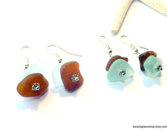 Sea Glass Earrings - Beachglass Jewelry - Lake Erie Beach Glass Earrings - Pierced Earrings