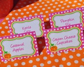 Pumpkin Birthday Food Labels, Buffet Labels, Place Cards, Girls 1st Birthday Pumpkin Patch Decorations, Halloween Birthday - Set of 12