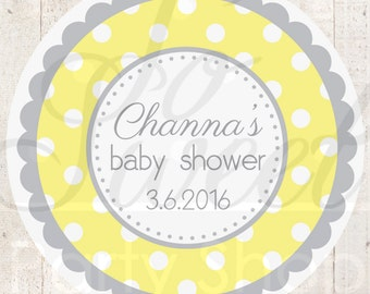 Baby Shower Favor Sticker Labels - Yellow and Gray Polkadot - Personalized Baby Shower Favors - Baby Shower Decorations - Set of 24