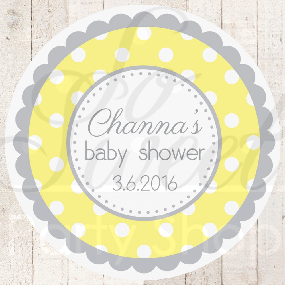 Baby Shower Stickers For Favors: Baby Shower Favor Sticker Labels Yellow And Gray Polkadot